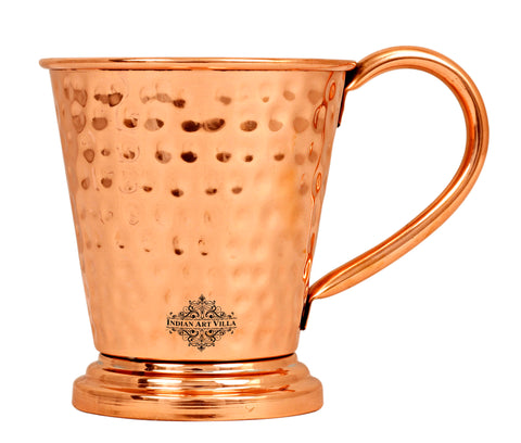 Copper Hammered Design Beer Mug with Stand - 450 ML