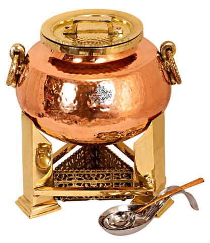 Steel Copper Hammered Chafing Dish with Brass fuel Gel Stand & Spoons