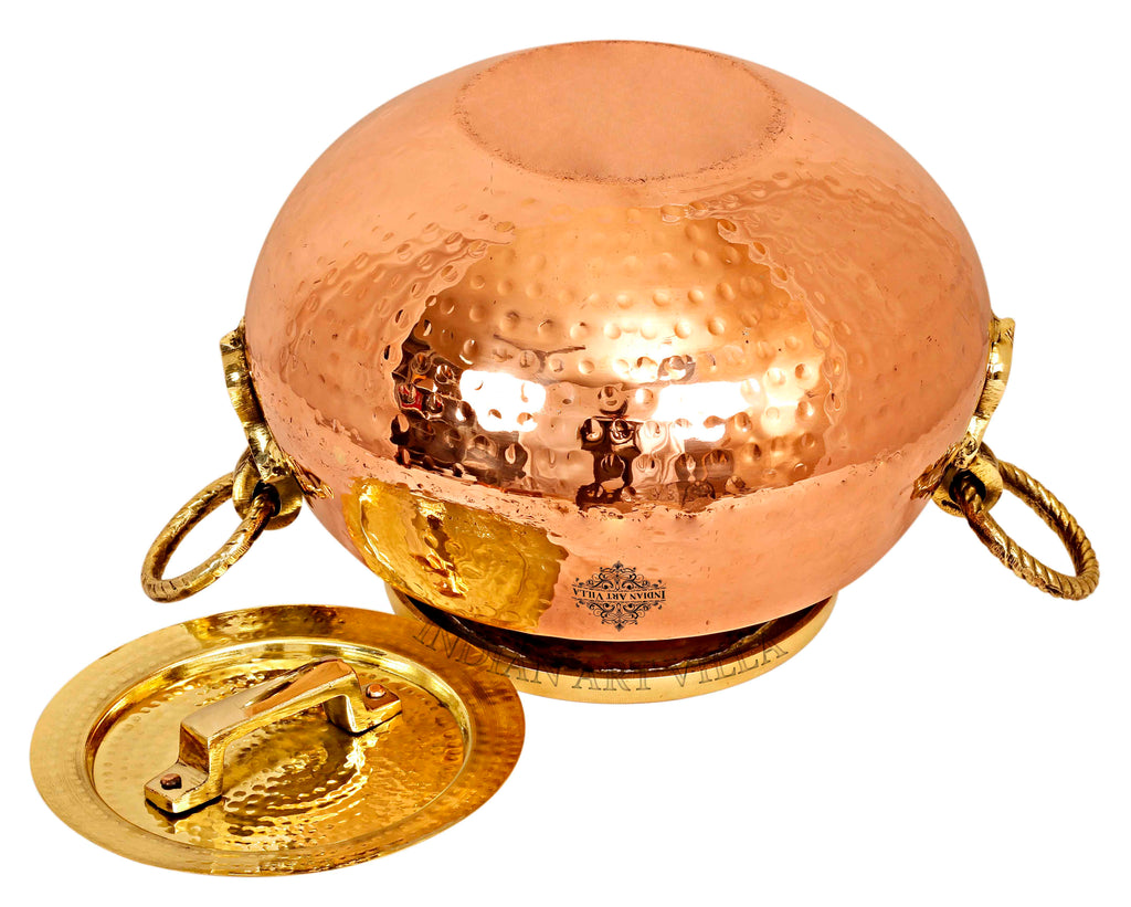 Steel Copper Hammered Design Chafing Dish with Brass Lid