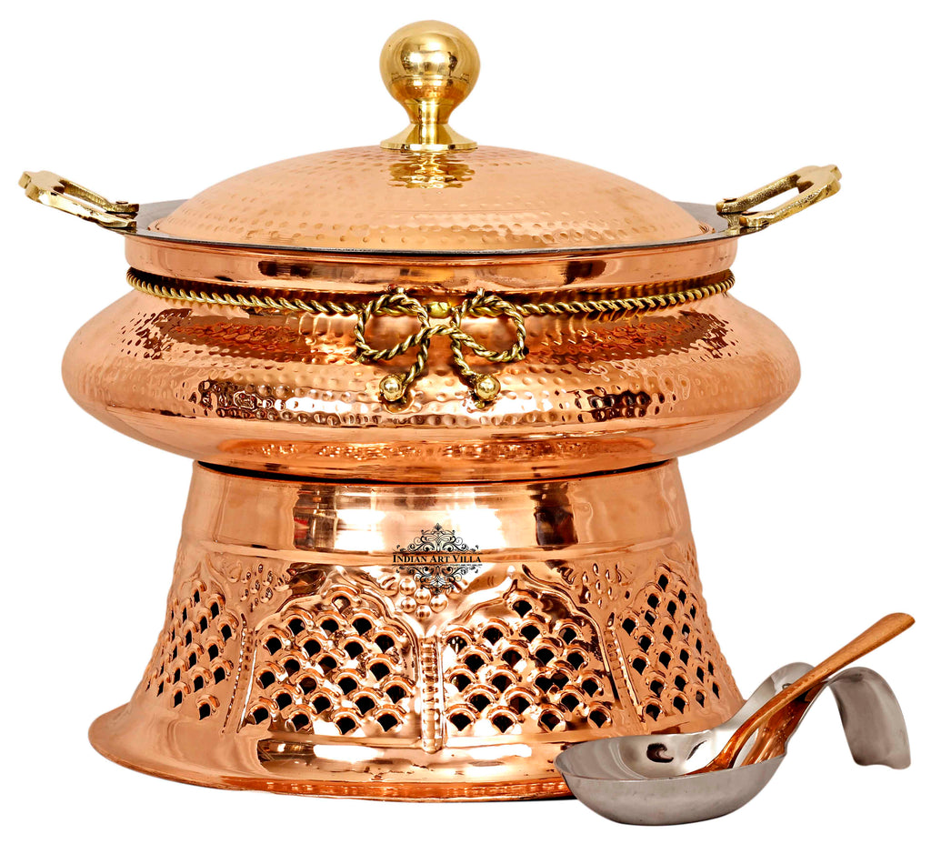Steel Copper Chafing Dish with Stand and Spoon