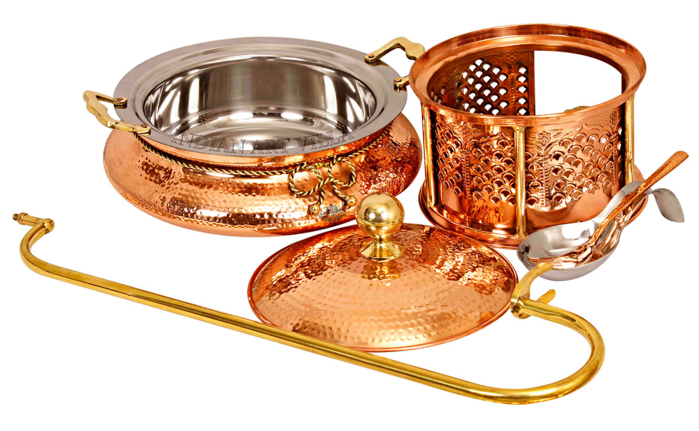 Steel Copper Chaffing Dish with Sigdi Stand