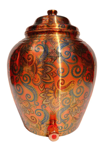 Copper Designer Orange Water Pot
