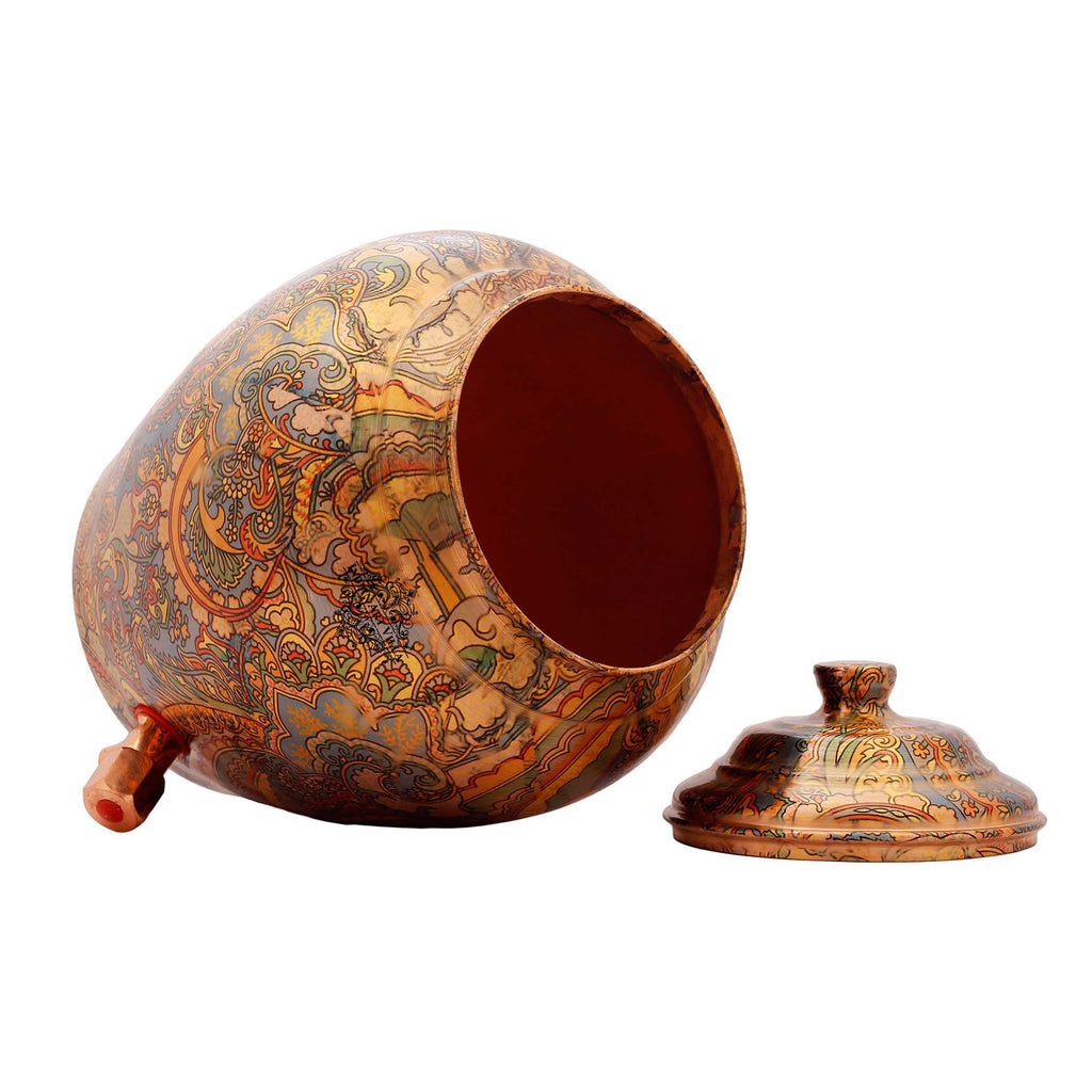Copper Flower Leaf Design Water Pot