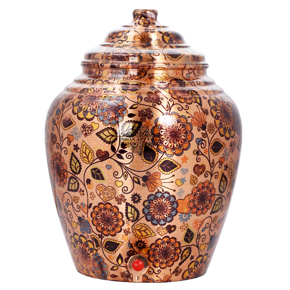 Copper Flower Leaf Design Water Pot Dispenser