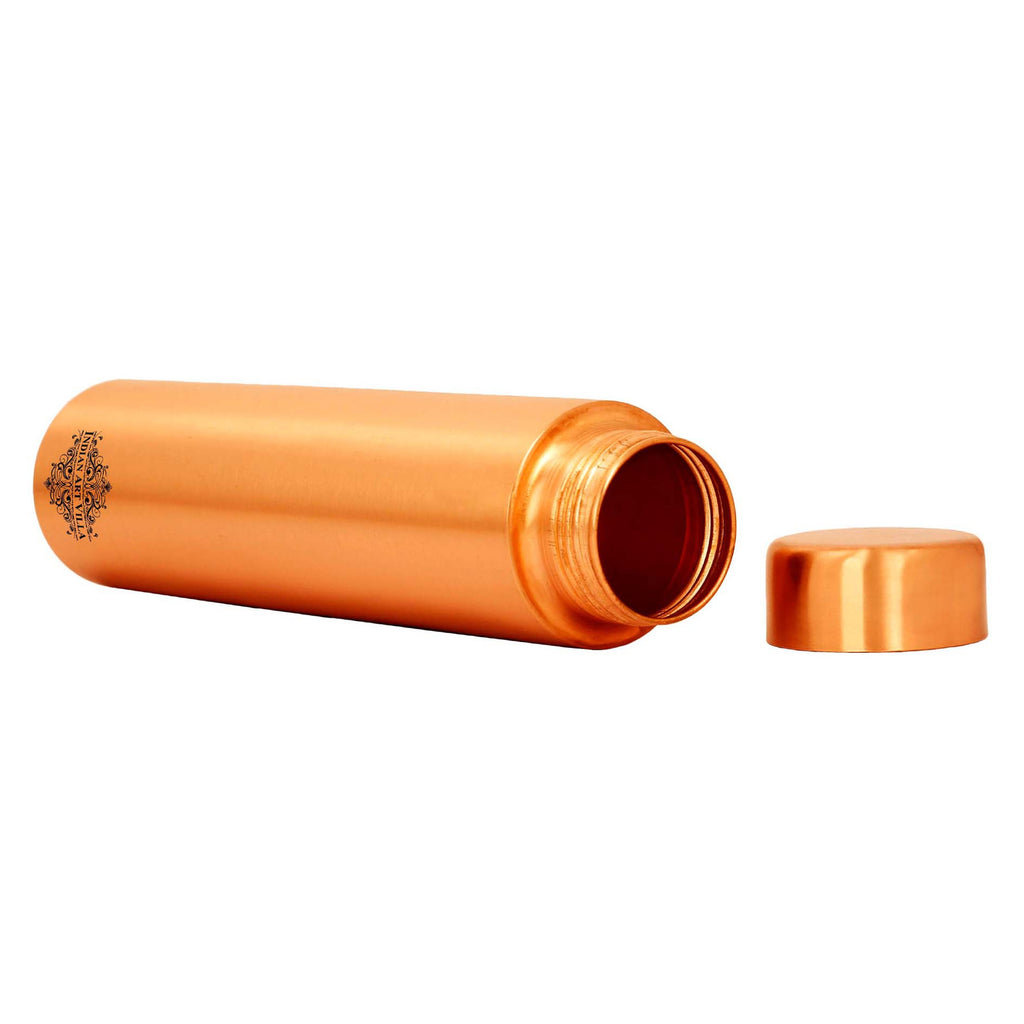 Pure Copper Water Bottle, Cylinder Design, Lacquer Coated, 675 ML