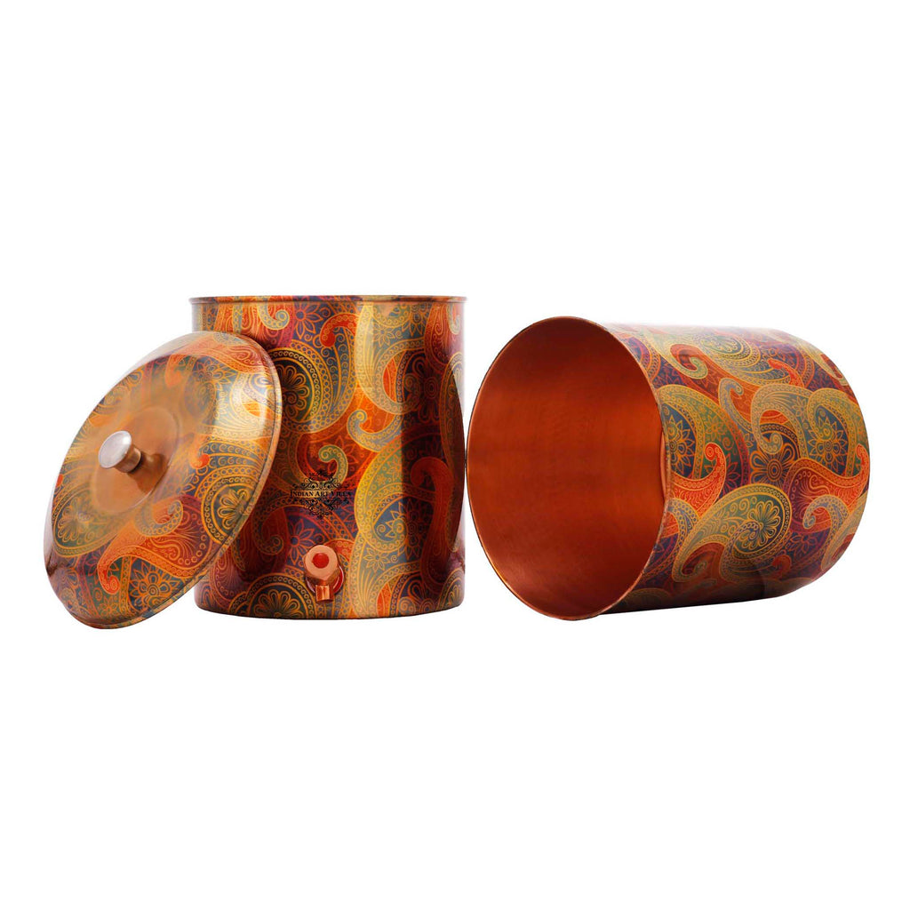Copper Printed Paisley Design Yellow Double Filter Water Pot 13 Ltr