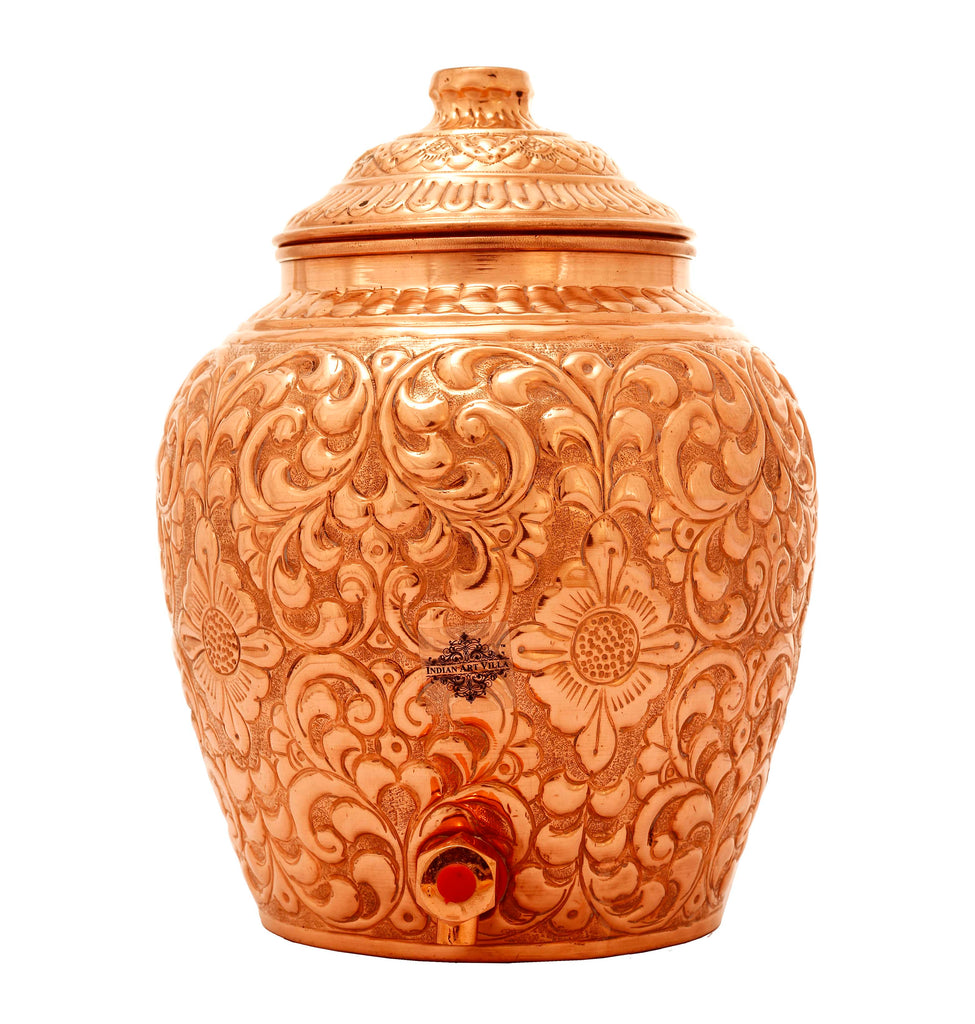 Pure Copper Water Pot, Embossed Design, Dispenser Pot Matka, Storage water, Gold