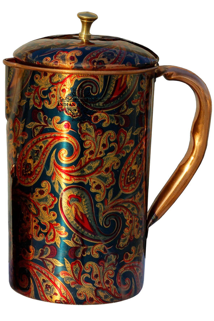 Pure Copper Jug Pitcher with Glass Set, Printed Design, Serving water