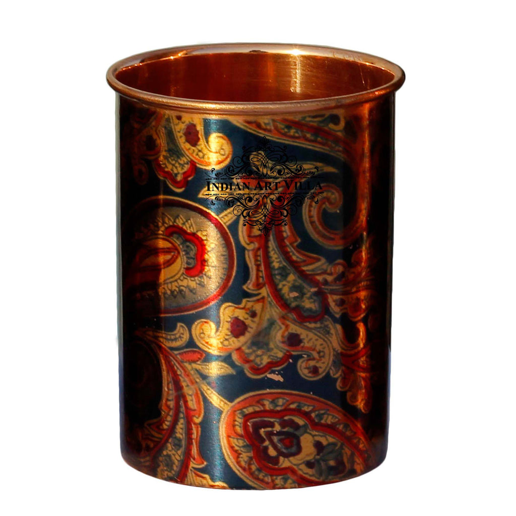 Pure Copper Glass Tumbler, Printed Designer, Drinkware & Serveware, 300 ML, Blue