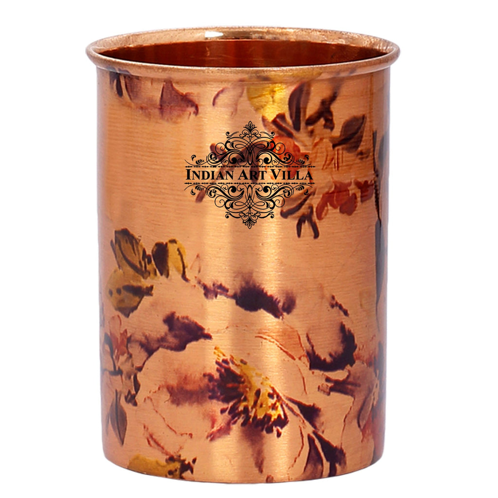 Pure Copper Glass Tumbler, Printed Designer, Drinkware & Serveware,, 300 ML, Brown