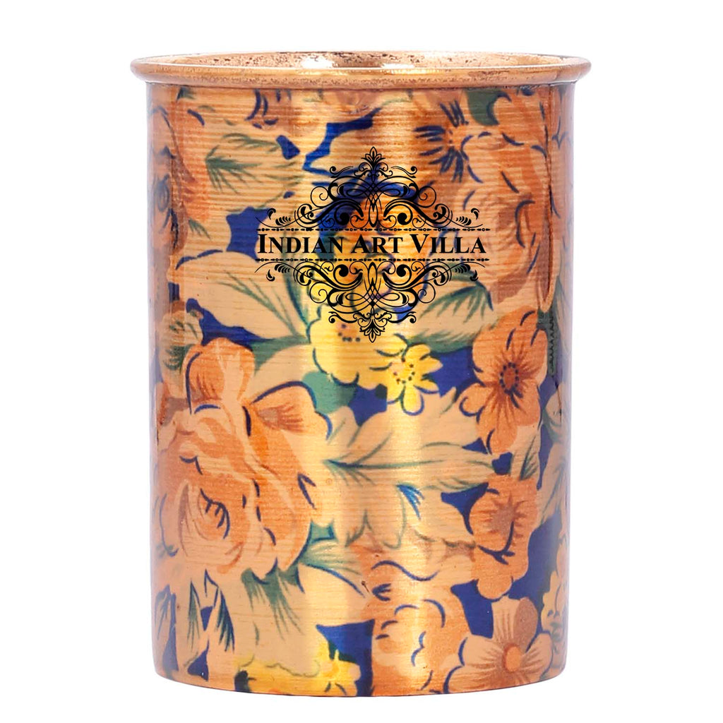 Copper Glass Tumbler, Printed Flower Design, Capacity 300 ML Each,