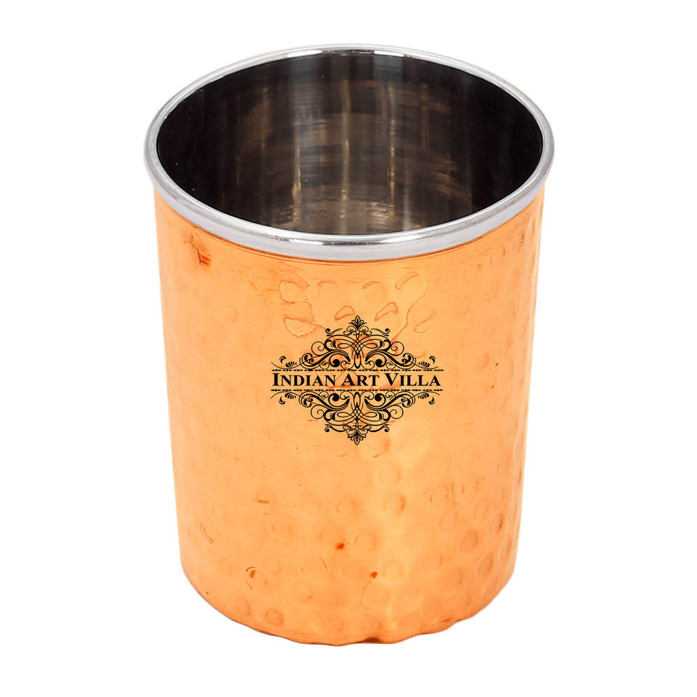 Steel Copper Flat Hammered Design Glass Tumbler 300 ML