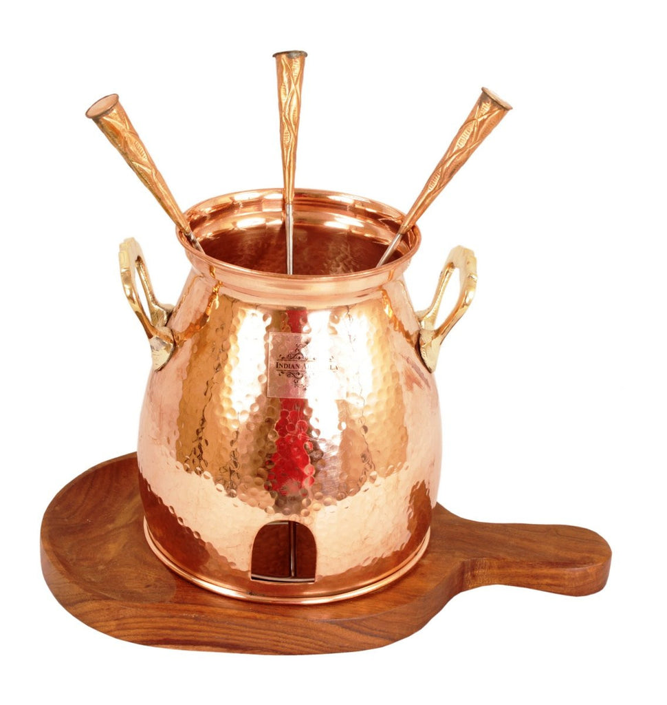 Copper Table Tandoor With Wooden Bottom