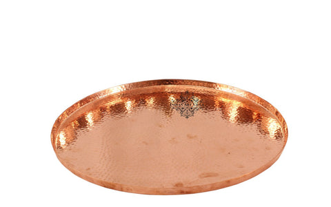 Copper Hammered Design Round Tray