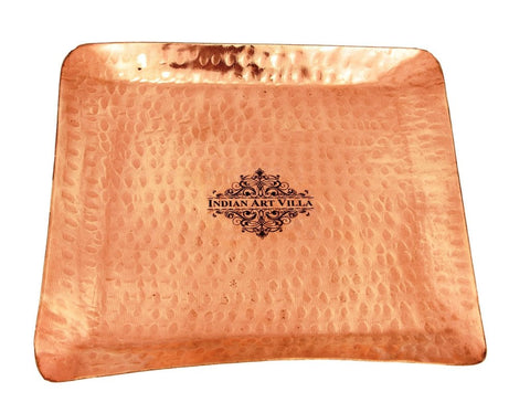Pure Copper Hammered Small Square Tray - Serving Tableware Gift item Home Hotel Restaurant