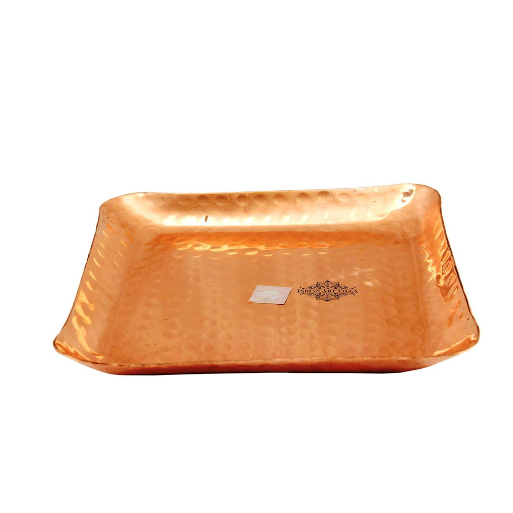 Copper Hammered Design Square Tray