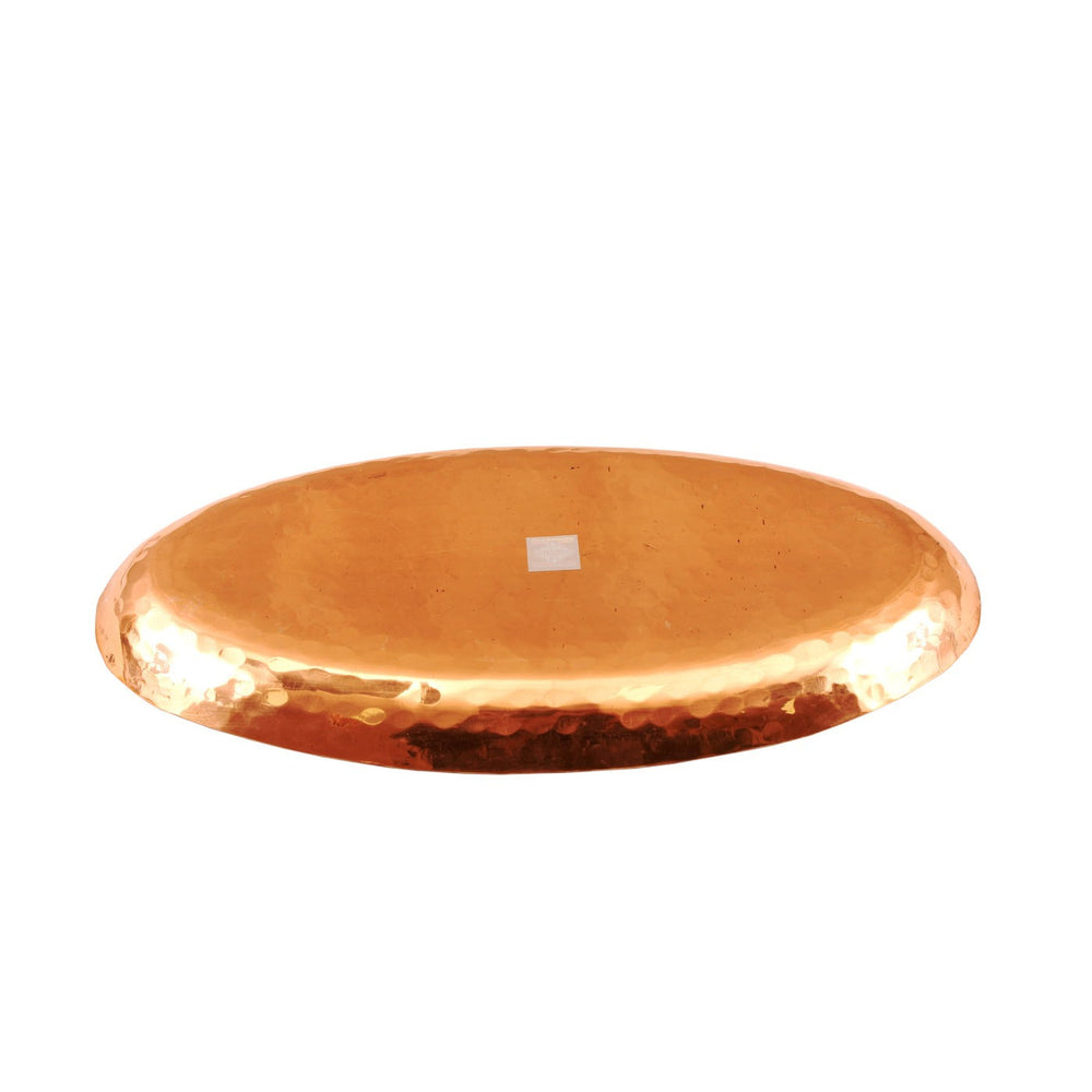 Copper Hammered Design Oval Tray