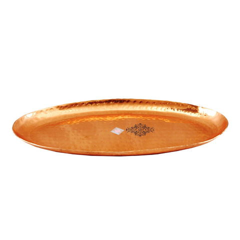 Copper Hammered Oval Tray for Serving Coffee Tea Dishes - 8"