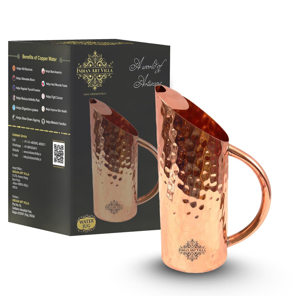 Pure Copper Jug, Small Hammered Design, Cut Pitcher, Serving water