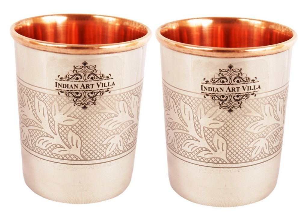 Steel Copper Embossed Design Glass Tumbler 250 ML