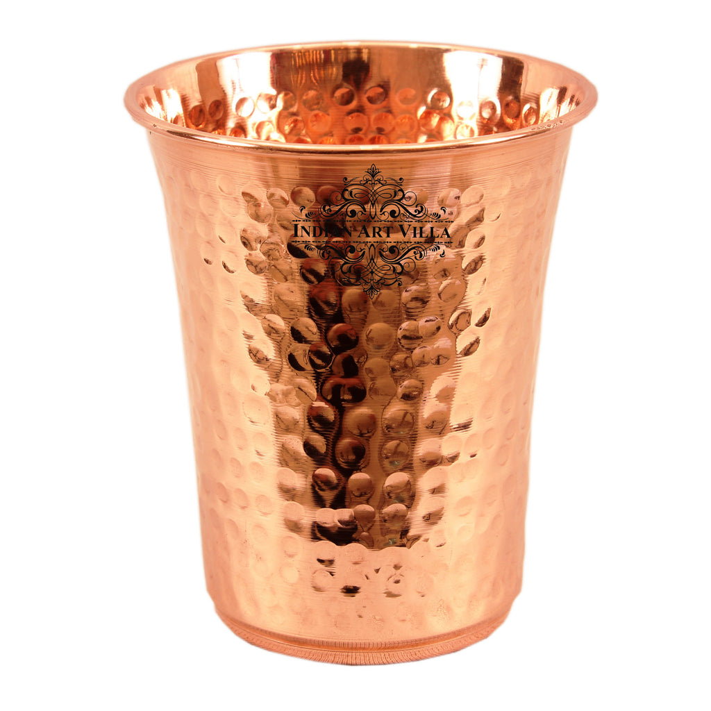 Copper Hammered Design Curved Glass Tumbler 550 ML