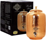 Copper Hammered Design Water Pot with Brass Knob Lid