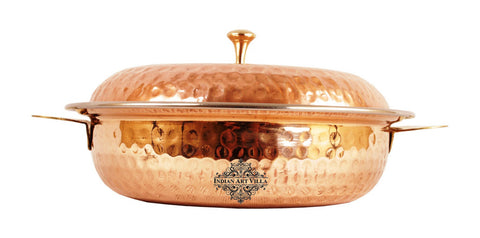 Steel Copper Hammered Donga Casserole 750 ML