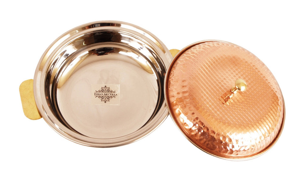 Steel Copper  Royal Hammered Design Donga with Lid 750 ML