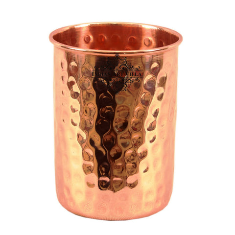 Copper Hammered Glass Tumbler 300 ML - Serving Water Good Health Benefit Yoga