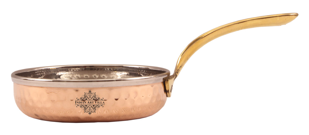 Steel Copper Frying pan Platter with Brass Handle, Serving Dishes