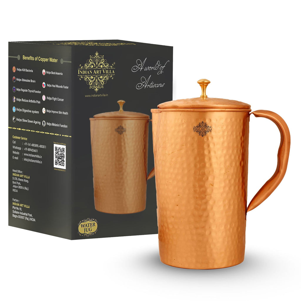 Pure Copper Jug, Hammered Design, Lacquer Coated Pitcher, Serving Water