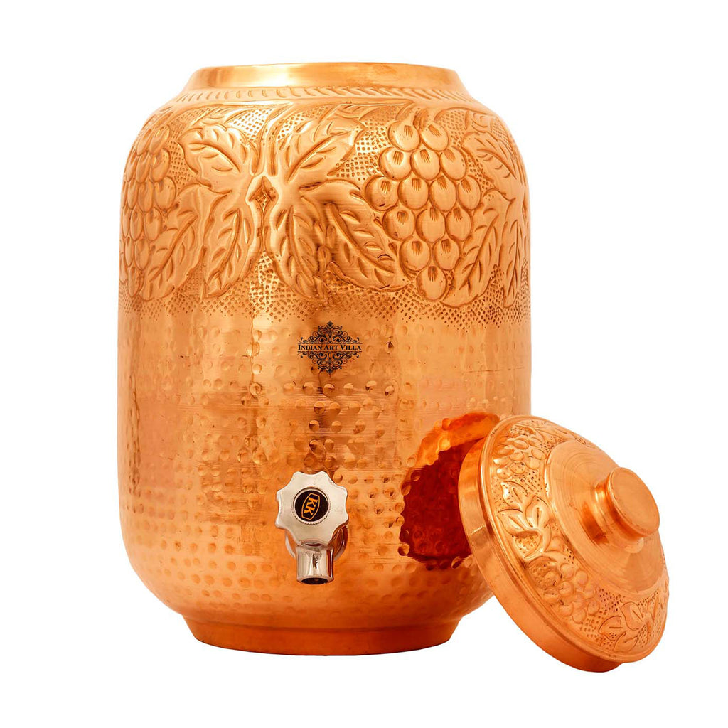 Copper Embossed & Hammered Design Water Pot