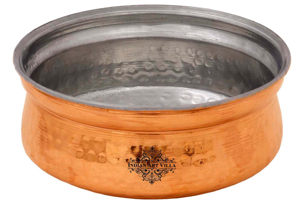 Copper Handi With Tin Lining, Hammered Design, Serveware & Tableware