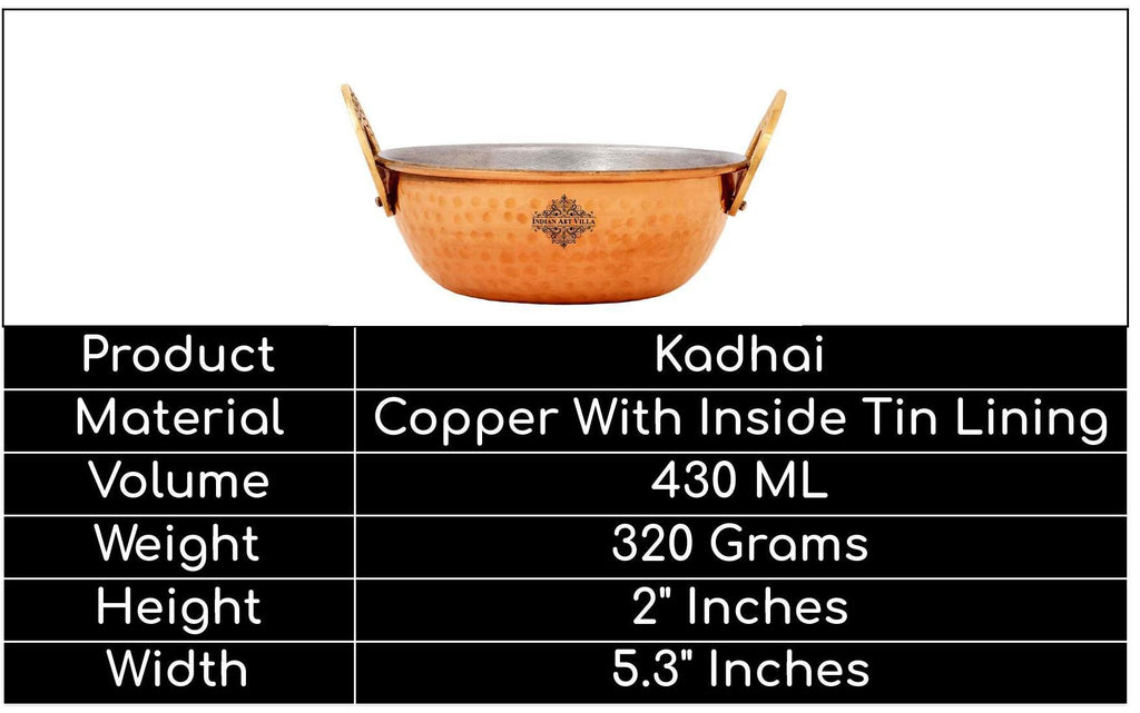 Copper Kadai With Tin Lining, Hammered Design, Serve ware & Tableware