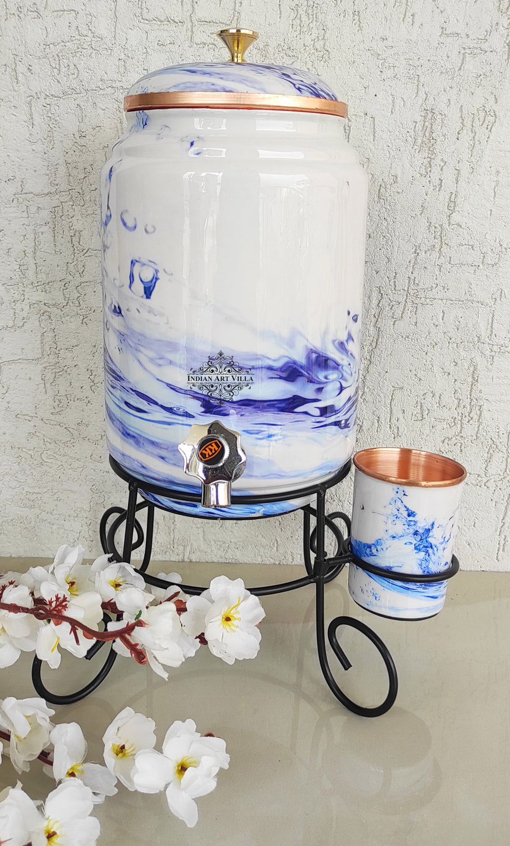 Copper White Aqua Blue Printed Design Water Pot With Stand & Glass | 5 Litres