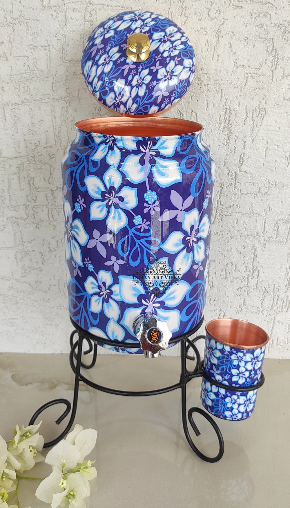 Copper Blue Floral Printed Design Water Pot With Stand & Glass | 5 Litres