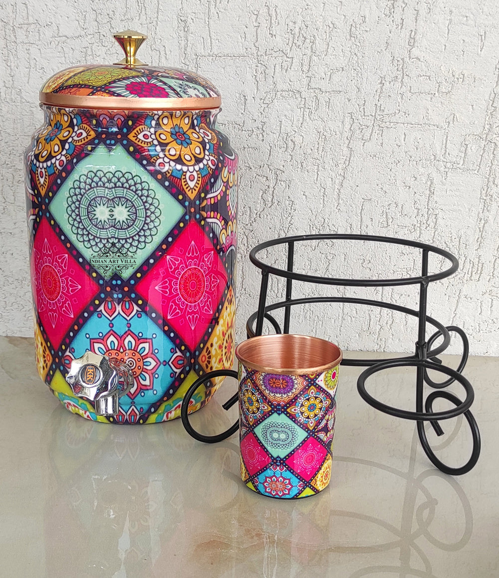Copper Water Pot With Stand & Glass | Beautiful Printed Pot | Multicolor | 5 Litres