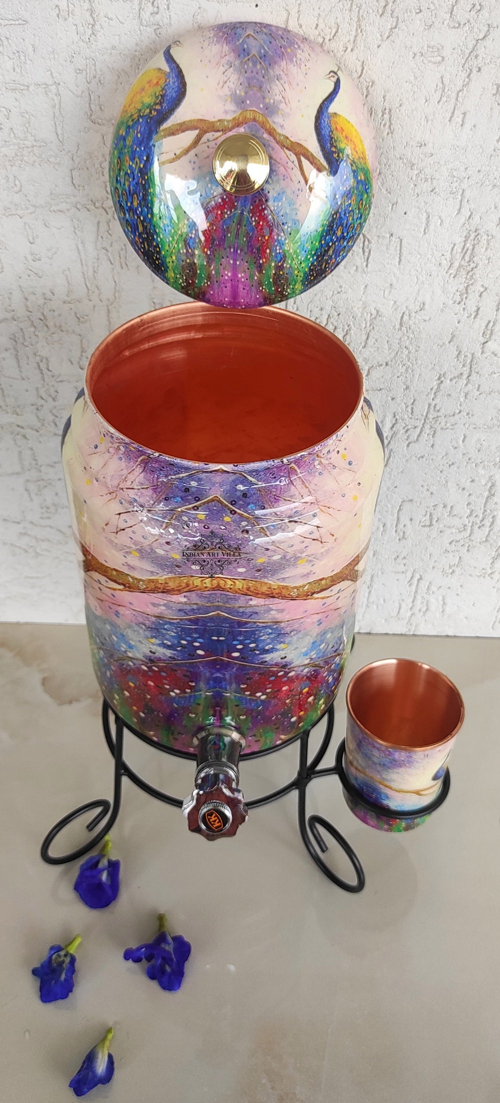 Copper Colorful Peacock Printed Design Water Pot With Stand & Glass 5 Litres