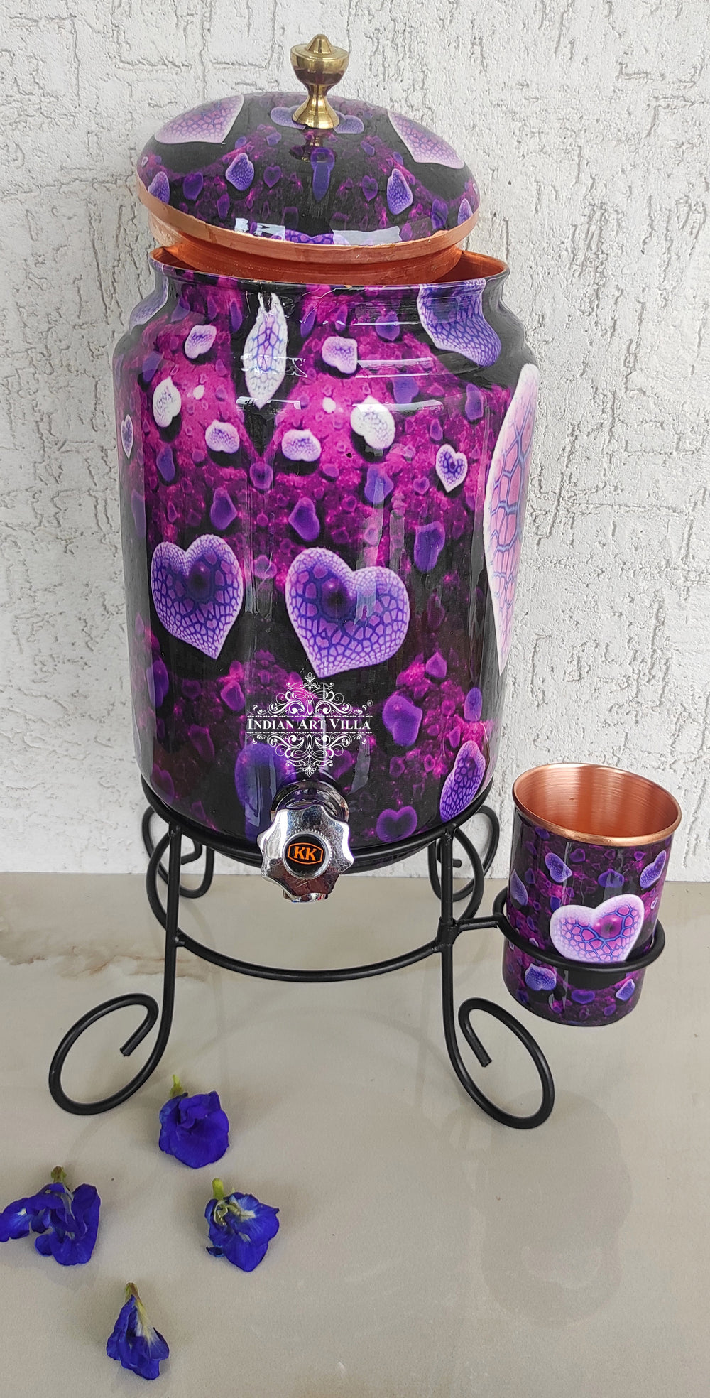 Copper Purple Heart Printed Design Water Pot With Glass & Stand | 5 Litres