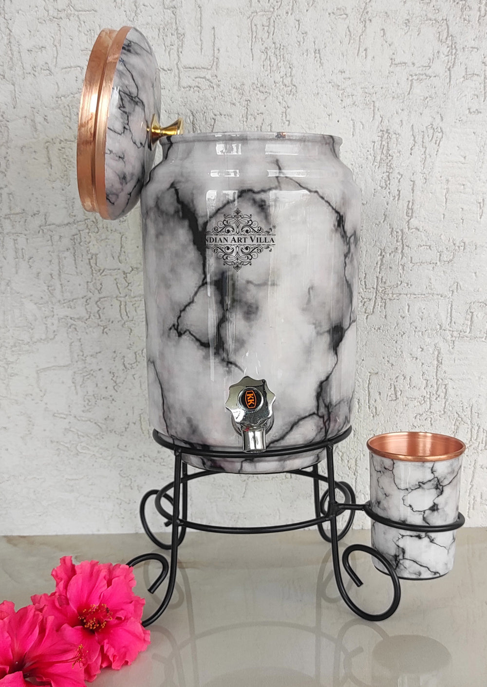 Copper White & Black Marble Printed Design Water Pot With Stand & Glass, 5 Liter