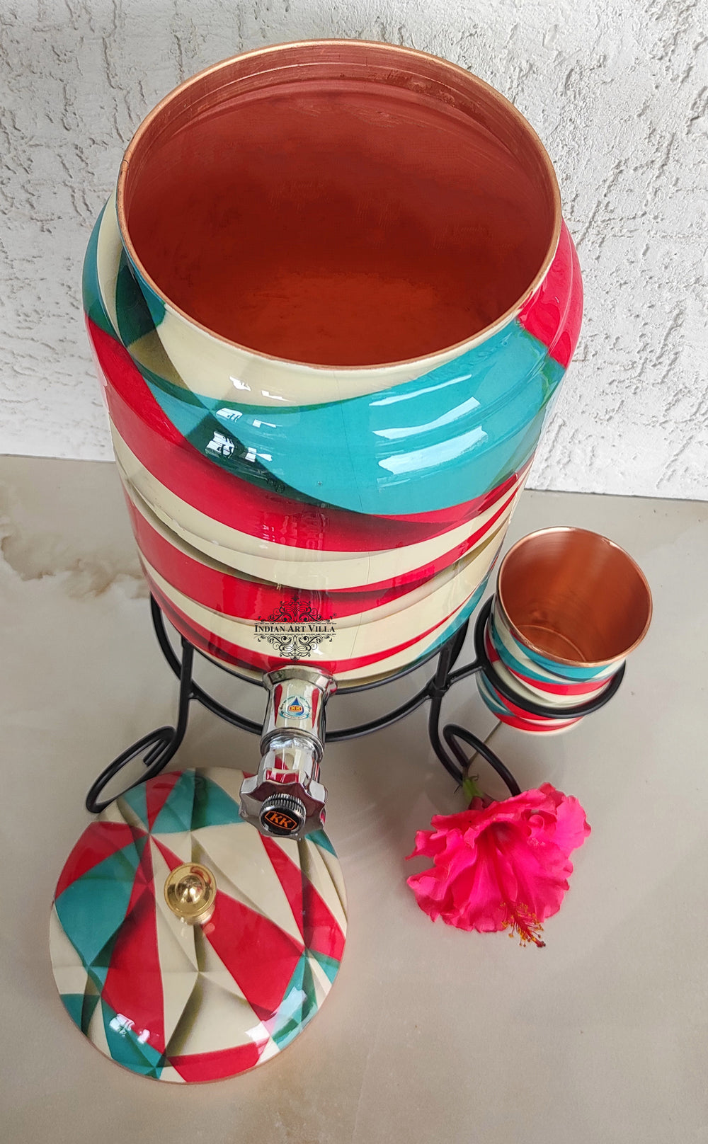 Pure Copper White, Red & Blue Printed Design Water Pot | Heavy Gauge with Brass Tap & Copper Glass & Stand | Serveware | Store water | 5 Litres