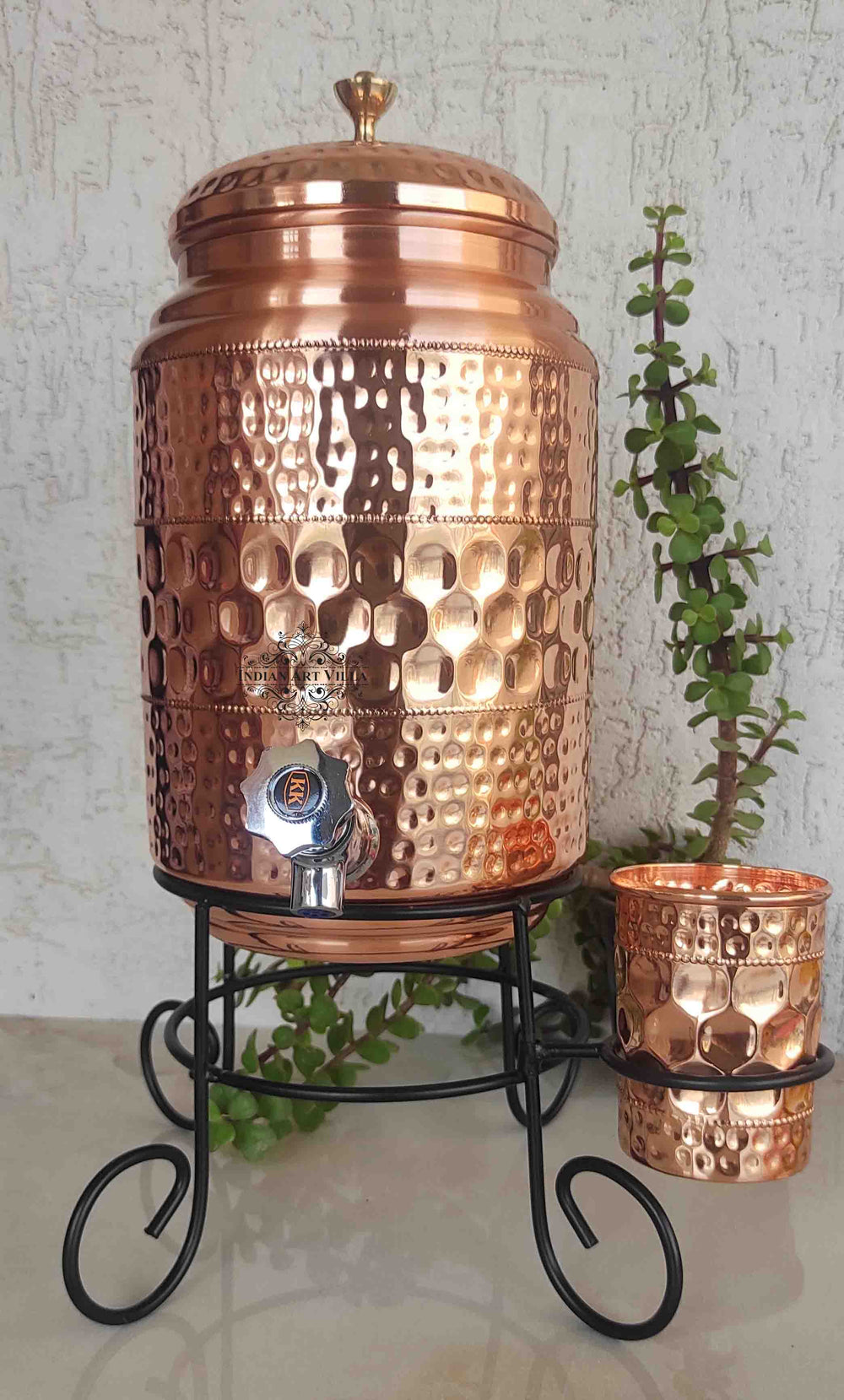 Copper Diamond Hammered Design Water Pot With Glass & Stand | 5 Litres