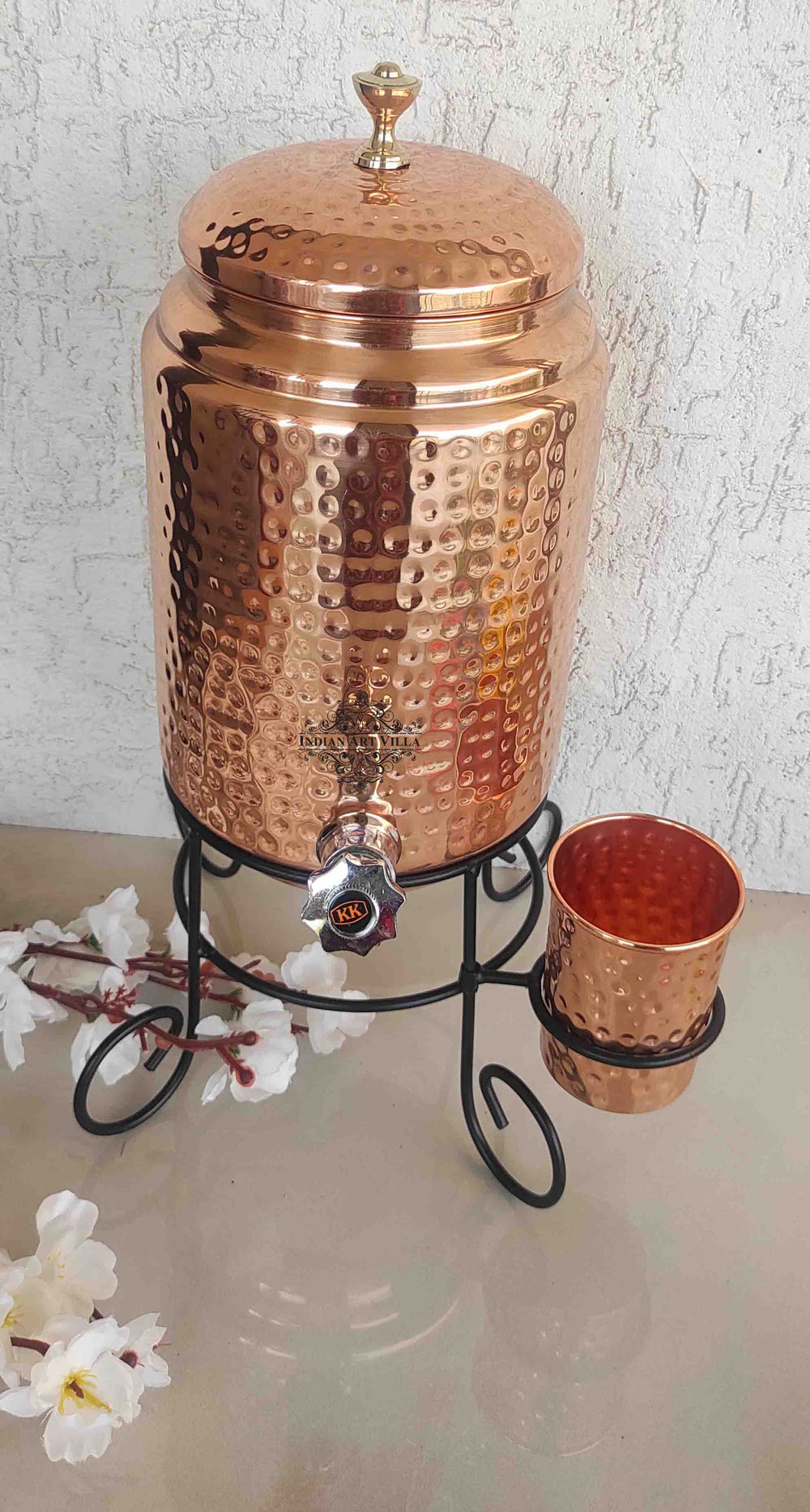 Copper Hammered Design Water Pot With Glass & Stand | 5 Litres