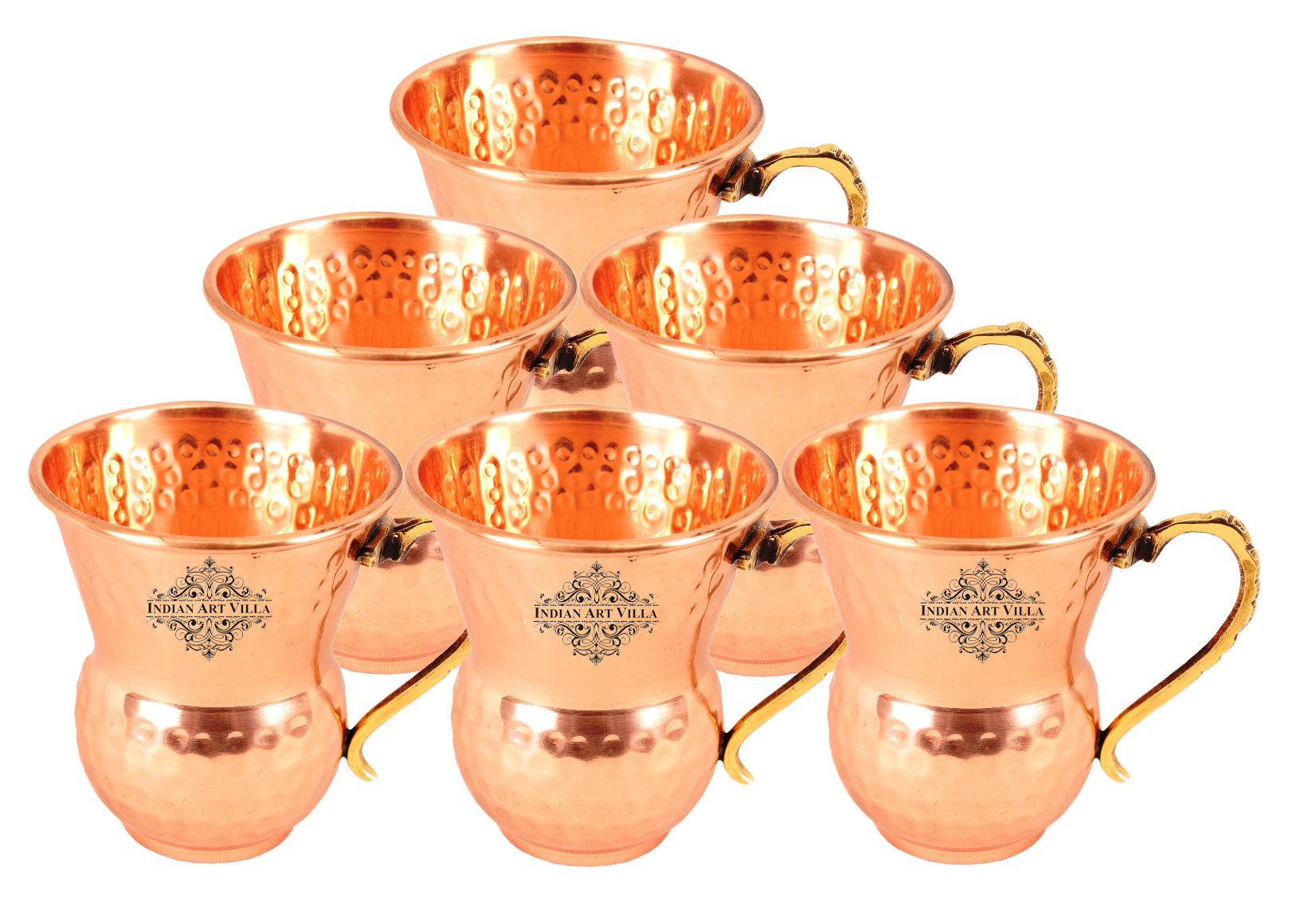 Copper Hammered Design Mathat Glass With Handle 400 ML Set of