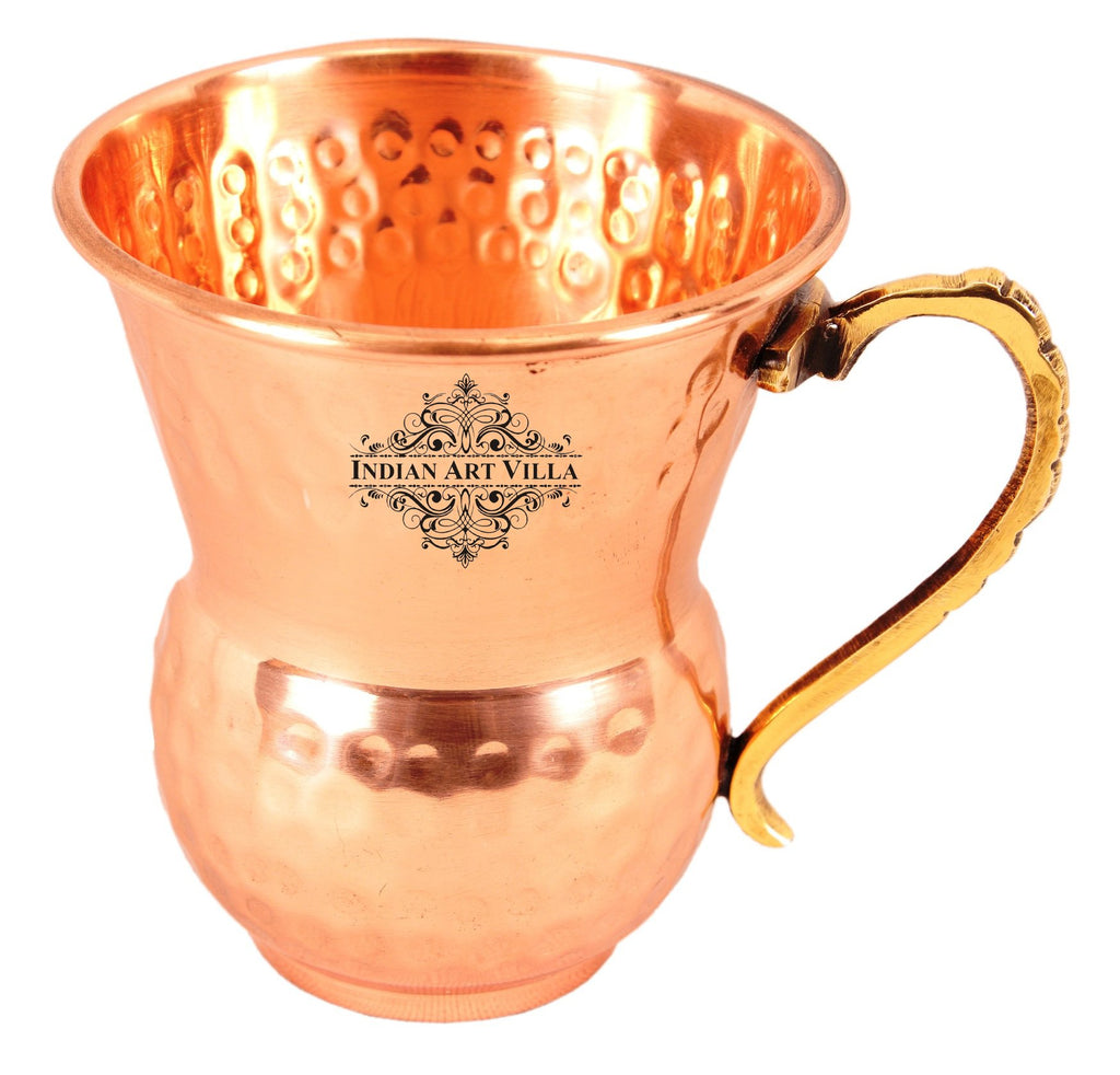 Copper Hammered Design Mathat Glass With Handle 400 ML