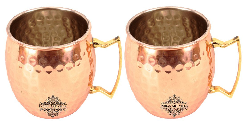 Copper Nickle Lining Hammered Mug with Brass Handle 530 ML