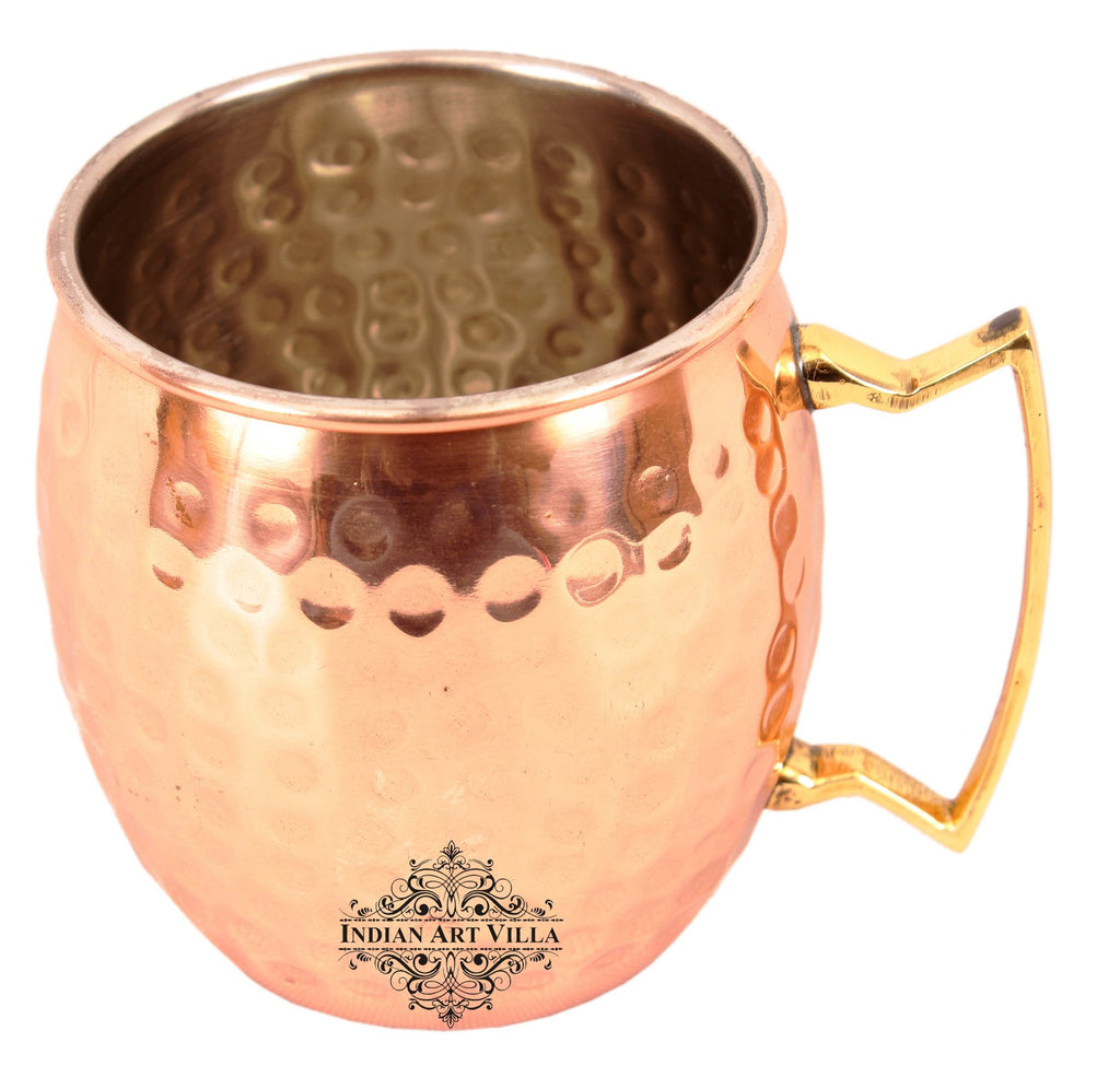 Copper Nickle Lining Hammered Mug with Brass Handle 530 ML Set of