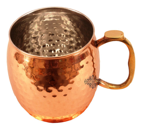 Copper Nickel Hammered Mug Moscow Mule with Brass Handle
