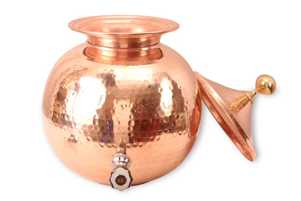 Copper Hammered Design Matka with Lid & Tap