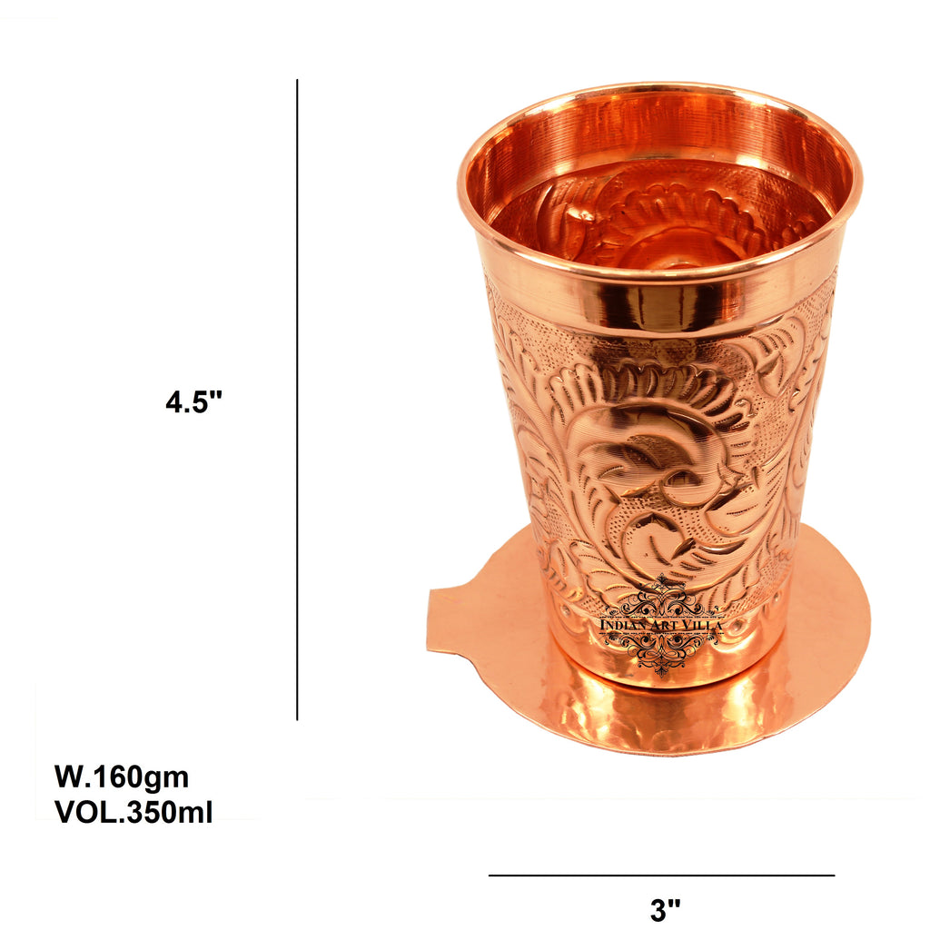 Copper Handmade Engraved Flower Design Glass with Coaster 350 ML